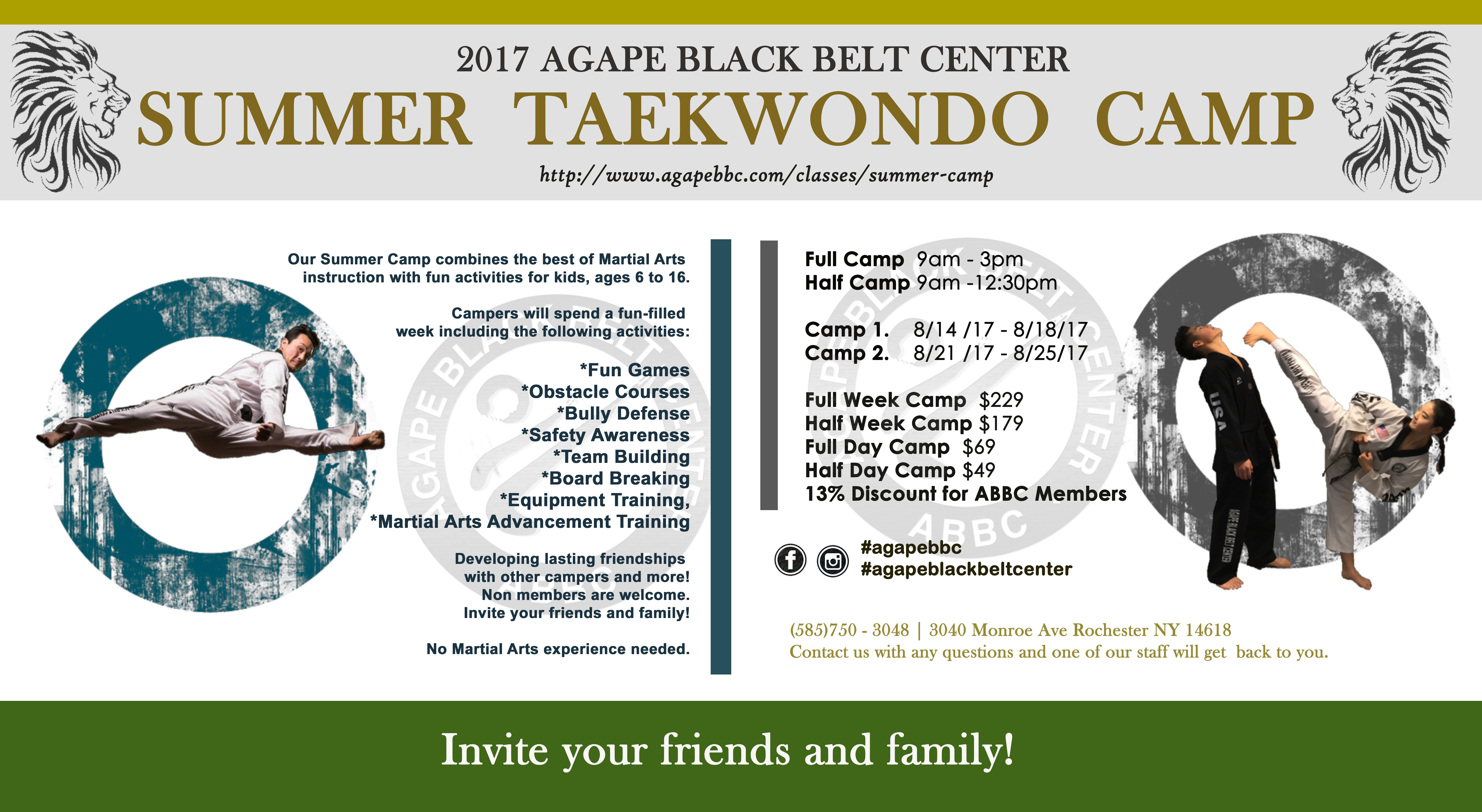 Summer Camp 2 (8/21/17 – 8/25/17) | Tae Kwon Do | Judo